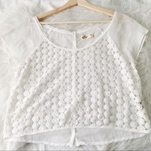 White Lace Front Crop Top // Hollister